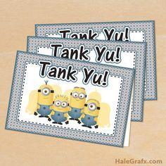 minion thank you FREE Printable Despicable Me Minions Thank You Cards