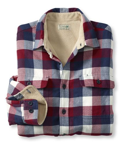 Fleece-Lined Flannel Shirt, Traditional Fit: Flannel, Chamois and Lined   Free Shipping at L.L.Bean