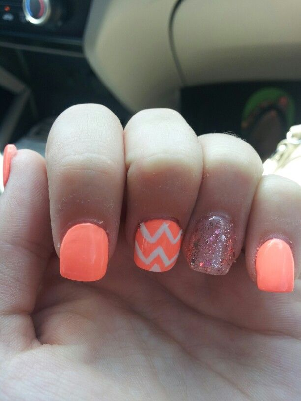 Chevron and glitter accent acrylic nails | Nails ...