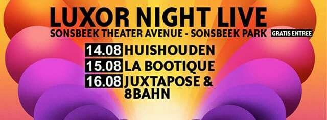 Tijdens Sonsbeek Theater Avenue in Arnhem het Sonsbeekpark in augustus, organiseert Luxor drie dagen achter elkaar een aantal dansfeesten. Info: www.luxorlive.nl