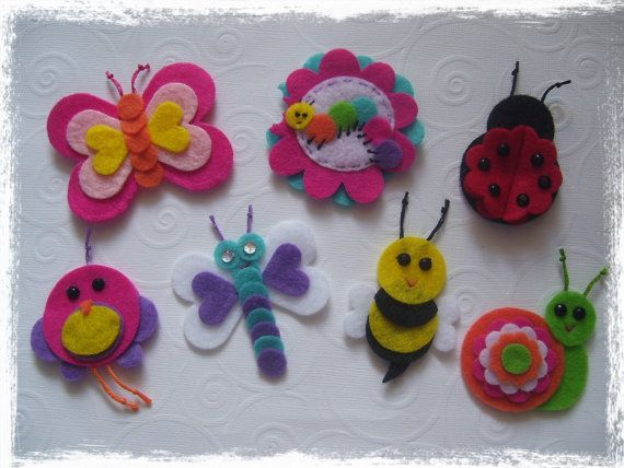 10 Off Sale Set of 7 Garden Felt Appliques for by blessed2create, $7.00