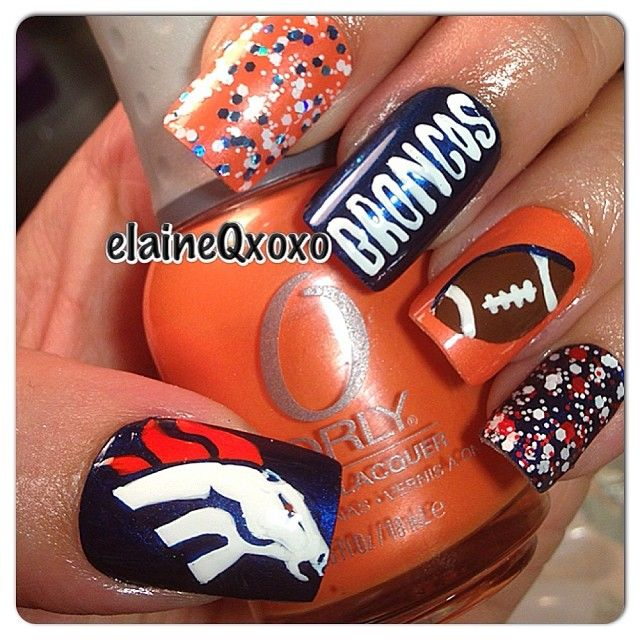 Denver Broncos by elaineqxoxo #nail #nails #nailart---in Bears would be badass