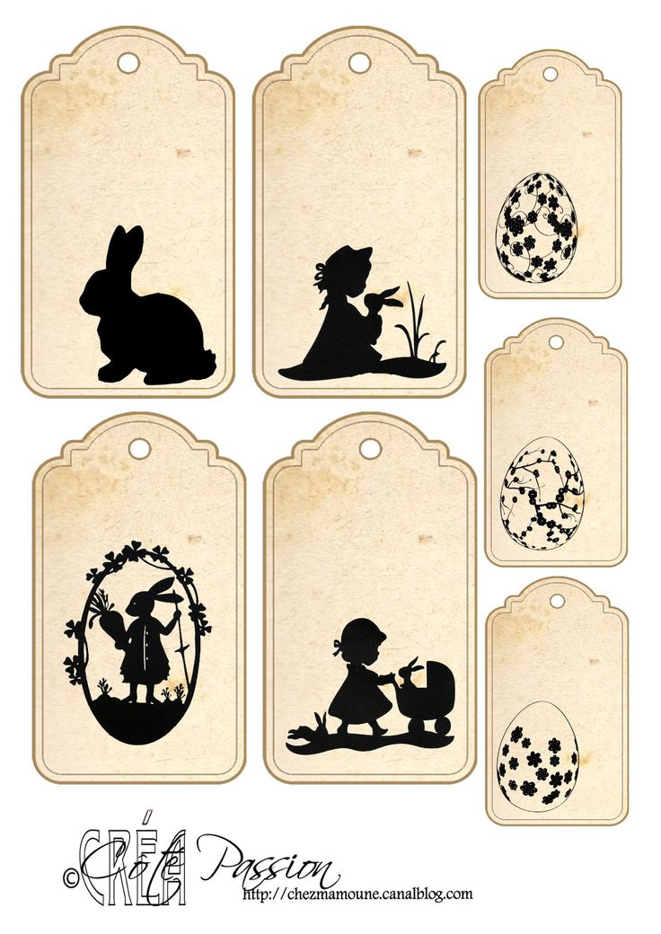 Fiche étiquettes Paques silhouettes Cote Passion- think this means Easter tags