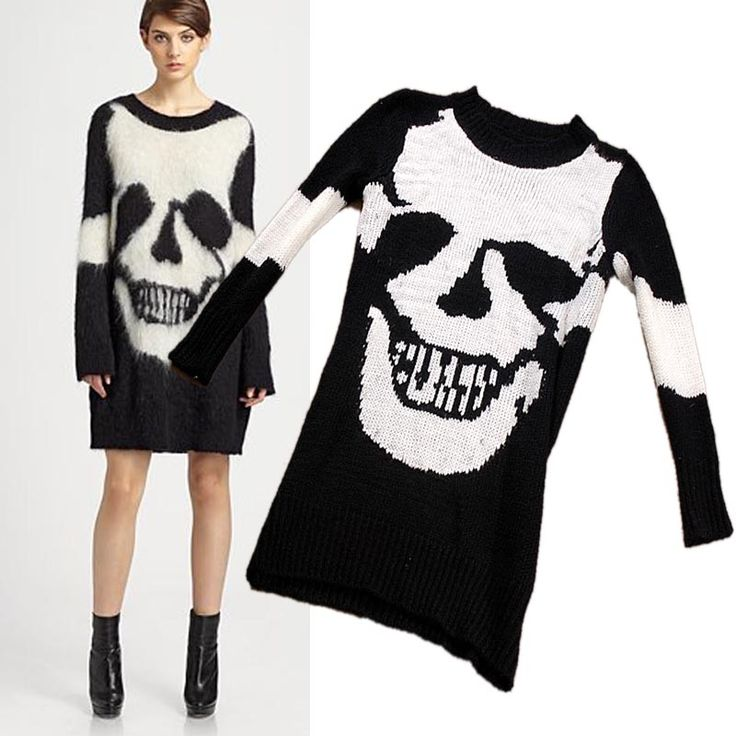 Punk skull pattern knitted mohair women's long design thermal sweater(China (Mainland))