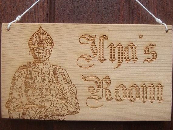 Personalised Boy's Door Sign  Knight Laser by BezalelArtShop