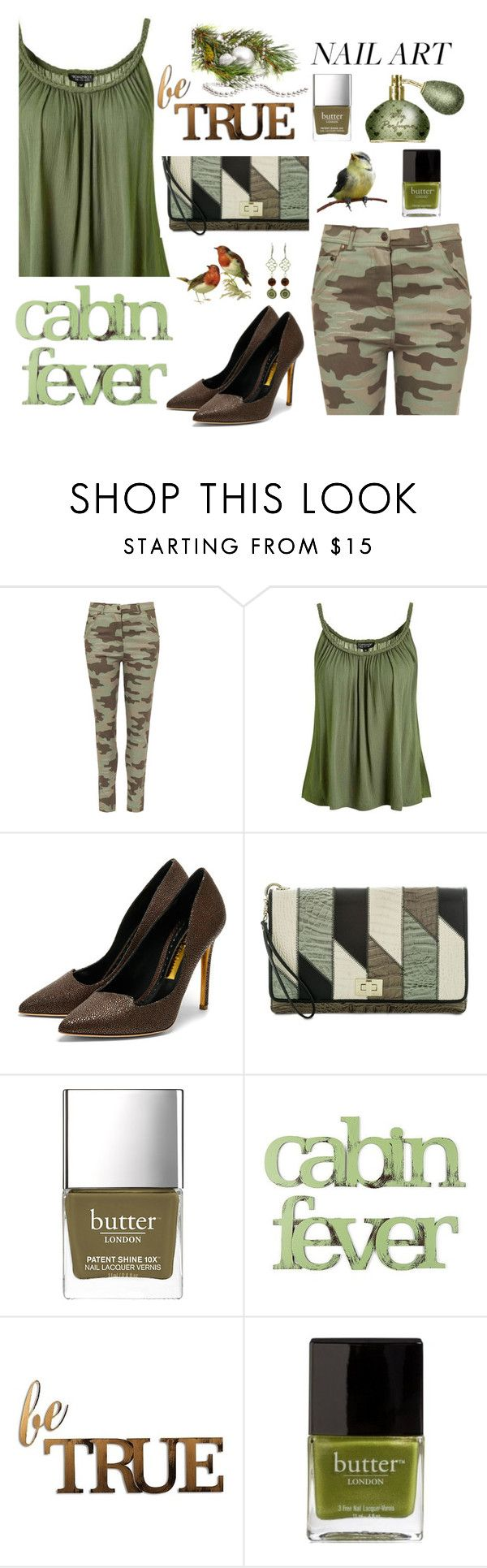 """""""Green Nails"""" by stephaniefb ❤ liked on Polyvore featuring WearAll, Topshop, Rupert Sanderson, Brahmin, British Khaki, Letter2Word and Butter London"""
