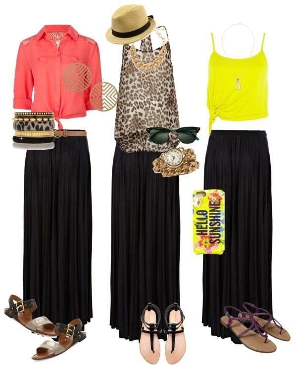 1 falda larga negra: 3 outfits