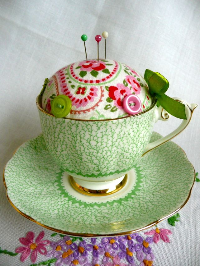 Inspiration: Teacup & Saucer Pincushion-she says she does not glue anything so the cup/saucer are not harmed