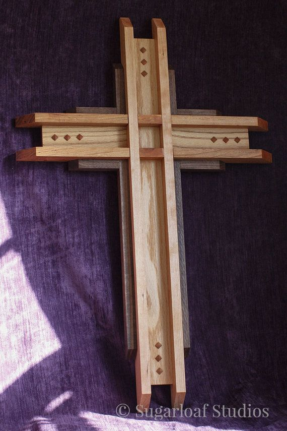 Large Wood Cross -- Mission Style -- Home Decor, Christian, Wood, Hardwood, Cherry, Oak, Walnut, Wall Hanging, Wall Art, Religious Art