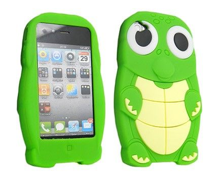 Green 3D Cartoon Turtle Dinosaur Silicone Case Cover for iPhone 4/4S/5