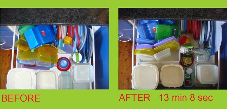 a absolute must: sorting one's plastic ware drawer/cupboard