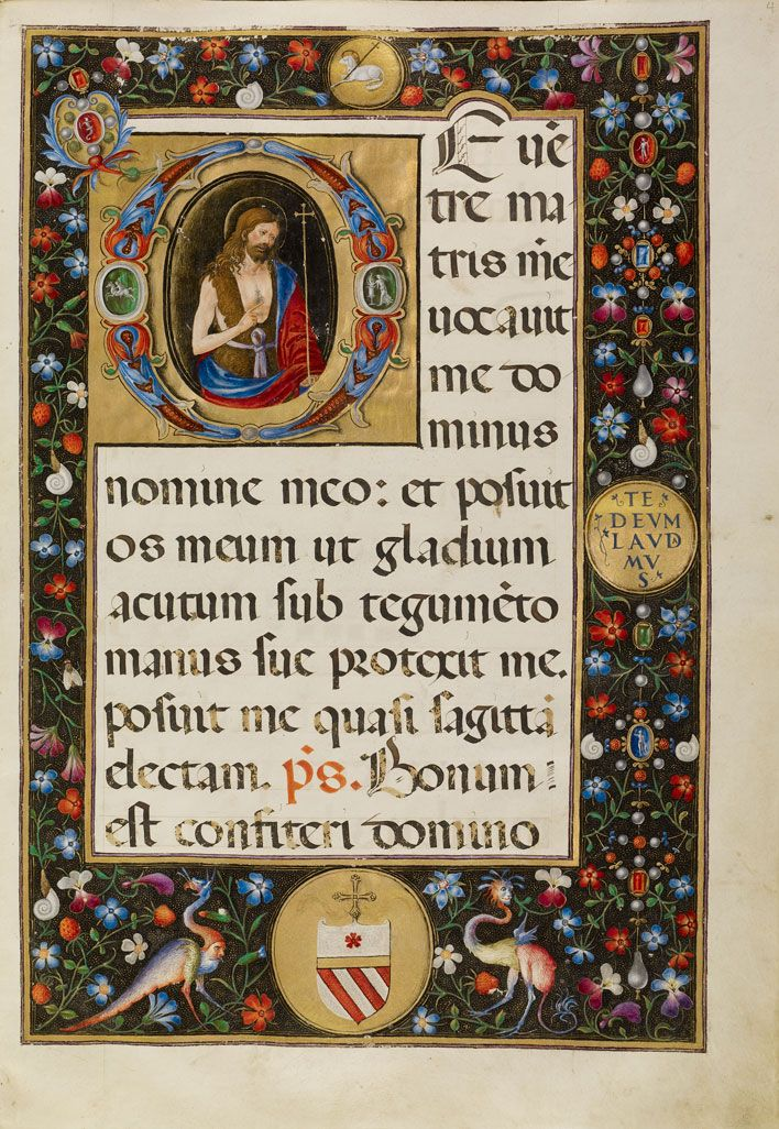 Matteo da Milano, illuminator (Italian, active 1492 – 1523) Initial D: Saint John the Baptist, about 1520, Tempera and gold on parchment Leaf: 33.6 x 23.4 cm (13 1/4 x 9 3/16 in.) The J. Paul Getty Museum, Los Angeles, Ms. 87, fol. 4