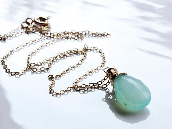 Blue Chalcedony Necklace Goldfill wire wrap aqua blue