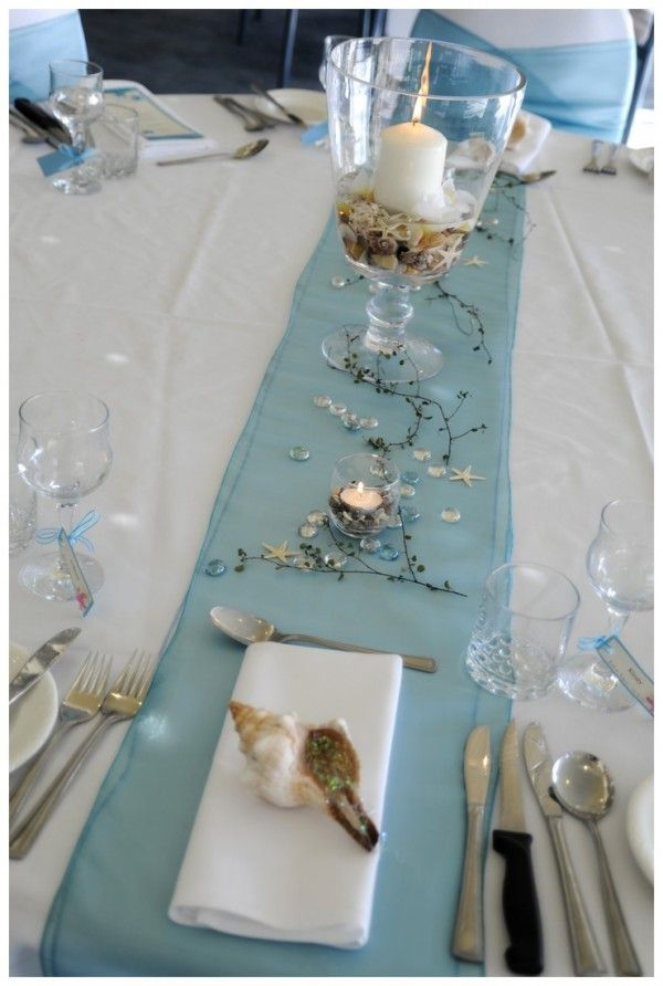 2014 Beach Wedding Table Decor, Blue Wedding Beach Theme  Www.loveitsomuch.com