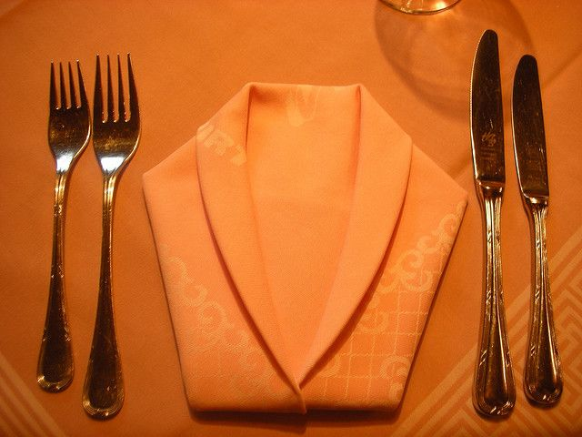 Napkin folded to make a shirt...!