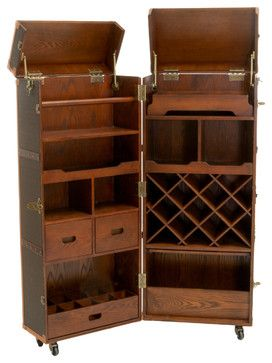 Rolando Rolling Bar Cabinet & Wine Rack - traditional - Bar Tables - Great Deal Furniture $1,149.99