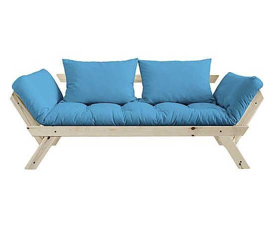 Divano futon in pino bebop naturale/turchese - 180x75x80 cm