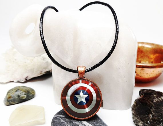 Capt America Necklace Capt America shield by YogaBlissJewelry