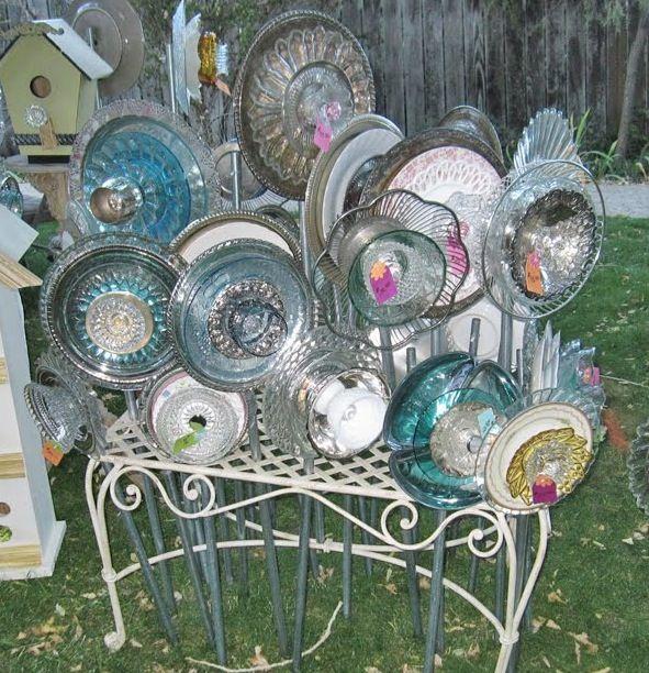 Garden Glass Flowers great display idea………………………………………………………… (Photo Courtesy of: pickledtinkreno.b...)