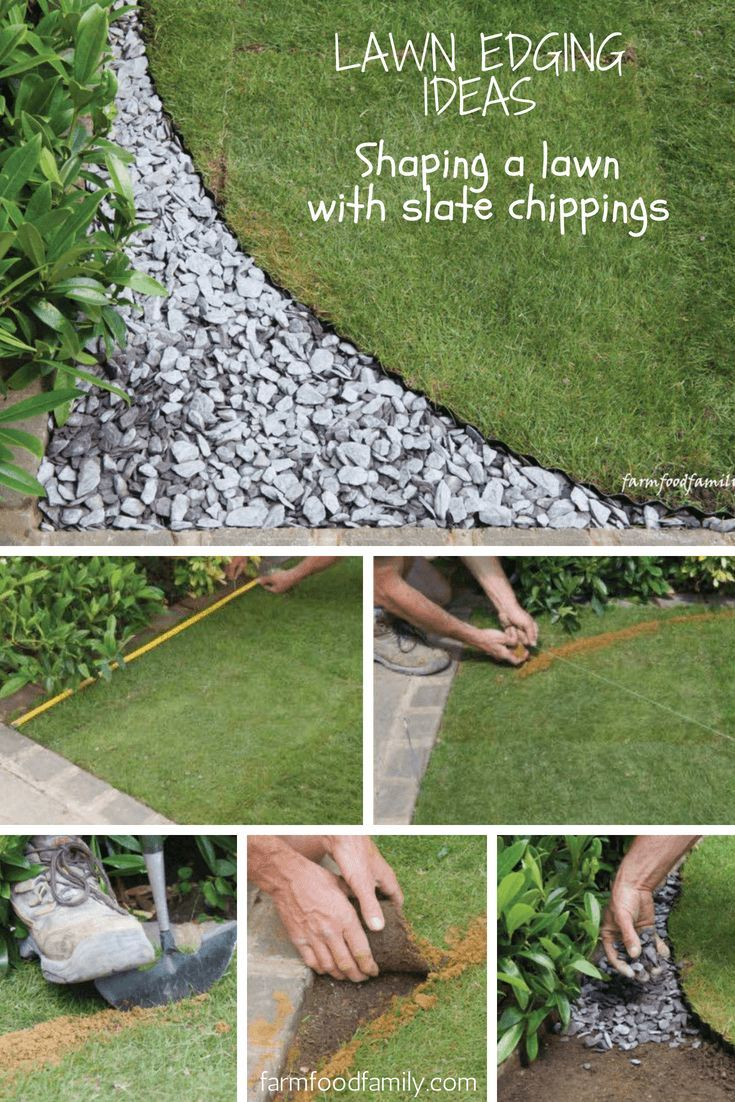 Garden Edging Ideas Shaping A Lawn With Slate Chippings Lawn Edging Garden Edging Landscape Edging