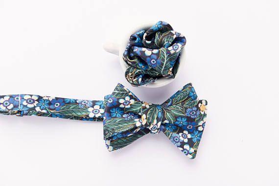 Morin noeud pap' Ensemble assorti noeud papillon classique à nouer soi-même (aussi appelé «self-tie») et carré de poche en soie 70$
