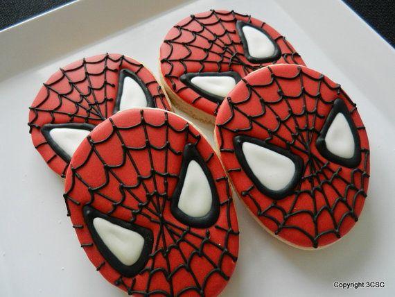 Spider Face- Spidey-Super hero  Cookies- One dozen hand decorated sugar cookies: Heroes Cookies, Dozen Hands, Hands Decor, Cookies Monsters, Spideysup Heroes, Spiderman Spideysup, Super Heroes, Spiders Faces, Decor Sugar Cookies