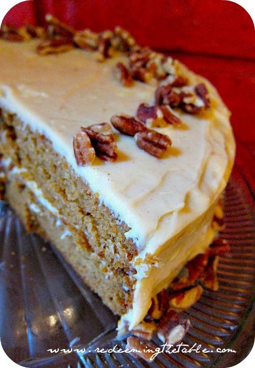 Brown Butter Pumpkin Cake with Honey-Cinnamon Cream Cheese Frosting #Grain free, legume free, & refined sugar-free