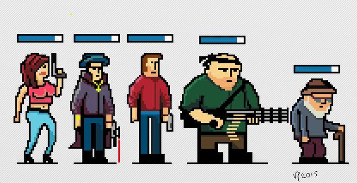 Pixel characters by Vesa Perasto #pyxeledit