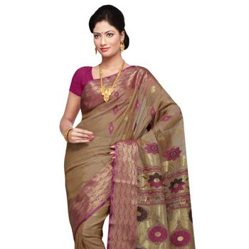 Beige and Onion Pink Pure Tussar Silk Saree With Blouse