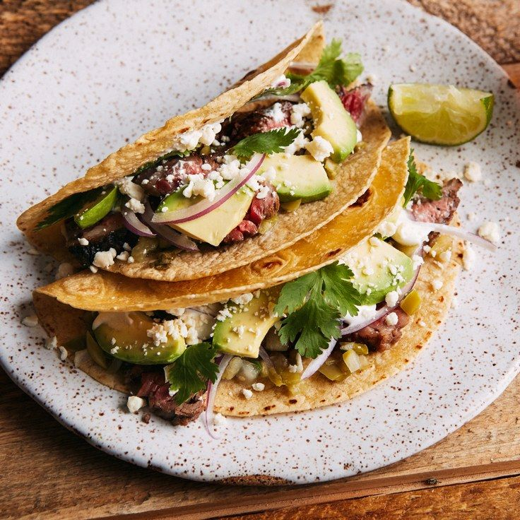 Jalapeño and Lime–Marinated Skirt Steak Tacos