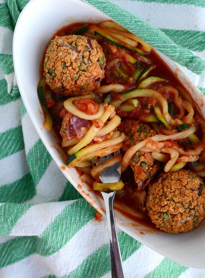 Zucchini Noodles with Vegan White Bean Meatballs and Tomato Sauce: Easy, low carb, low fat, high in protein and fibre.