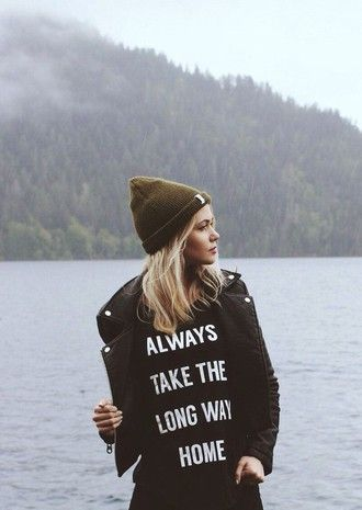 t-shirt hat travel camping beanie quote on it weekend escape always take the long way home