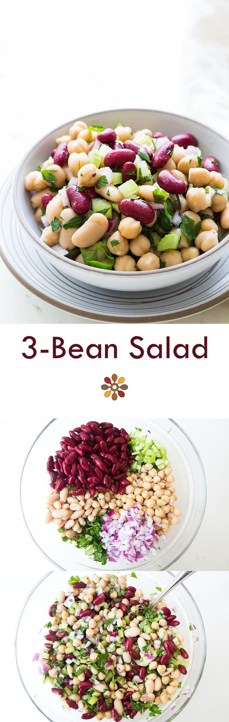 Classic American 3-bean salad, perfect for summer picnics and potlucks! On SimplyRecipes.com #vegan #glutenfree