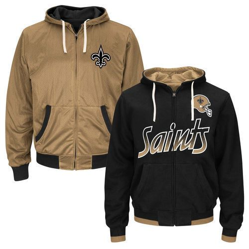 New Orleans Saints Game Time Reversible Full Zip Hoodie - Black - NFL #MTCMarketing #NewOrleansSaints