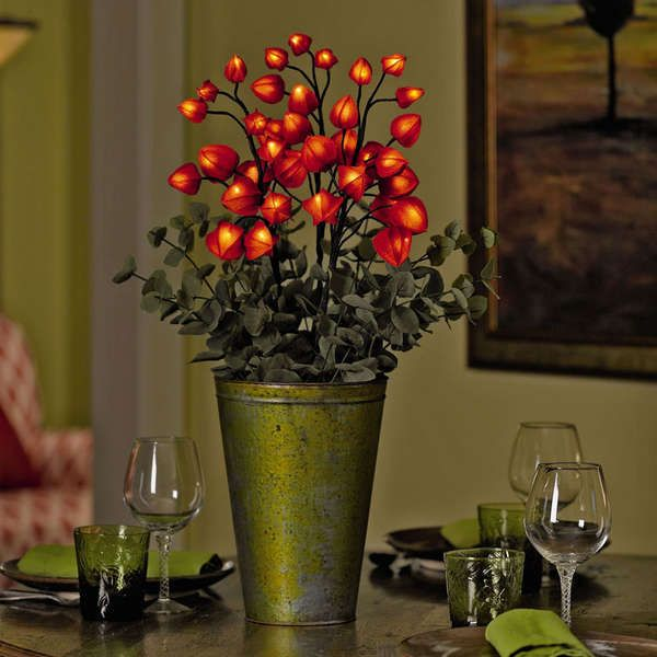 Blooming Bouquet Lamps - Floral Arrangements Glow with the Chinese Lantern LED Lights: Bouquet Lamps, Lantern Flower, Led Lights, C4 Flowers, Chinese Lanterns Calyx, Lanterns Plants