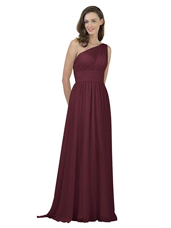 7c55882f8 Alicepub One Shoulder Bridesmaid Dress for Women Long Evening Party Gown  Maxi