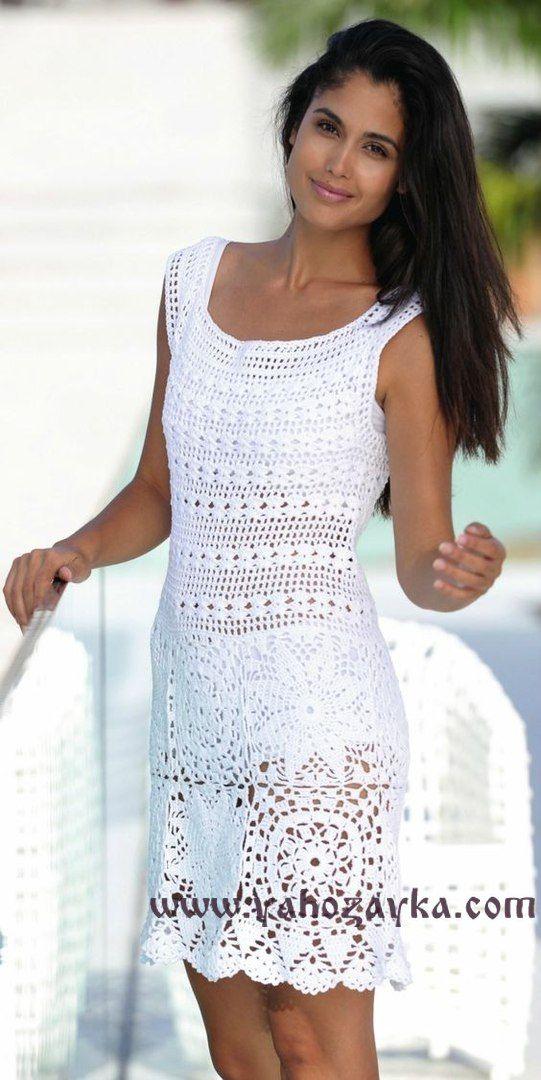 Платья связанные крючком схемы вязания