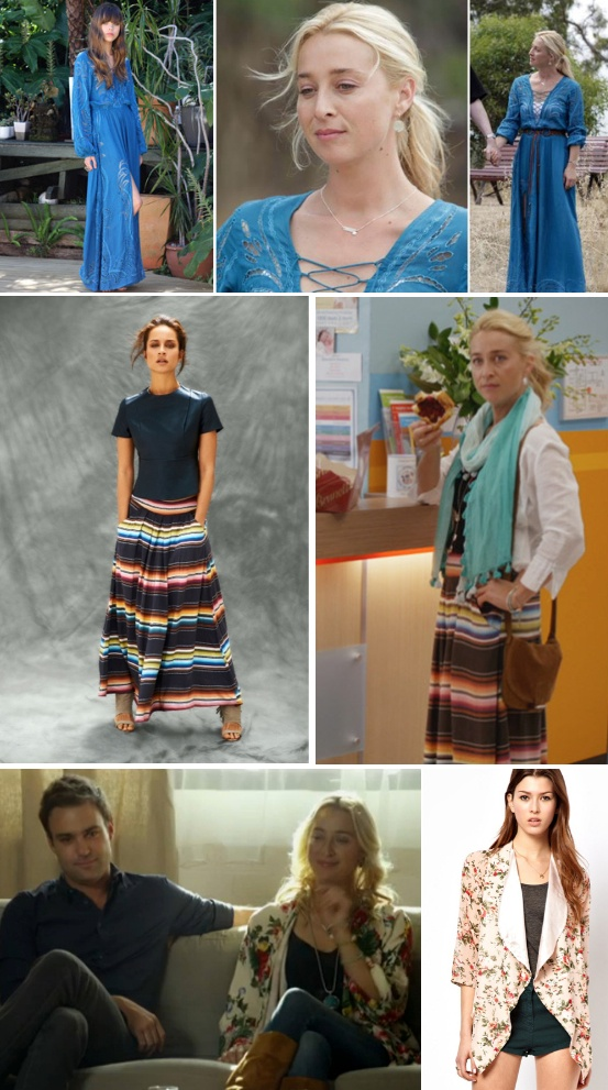 Nina Proudman | Offspring Season 4 Ep 4 | Natasha blue maxi dress (summer 2013)