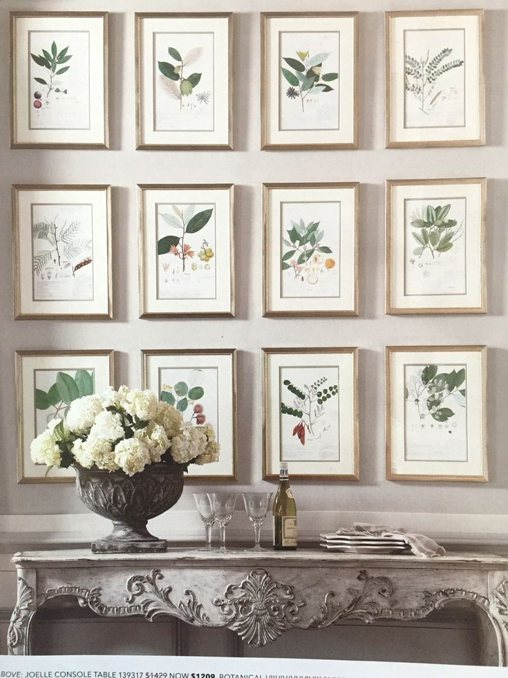 Gallery wall of matted botanical prints in gold frames (original image from Ethan Allen catalogue)