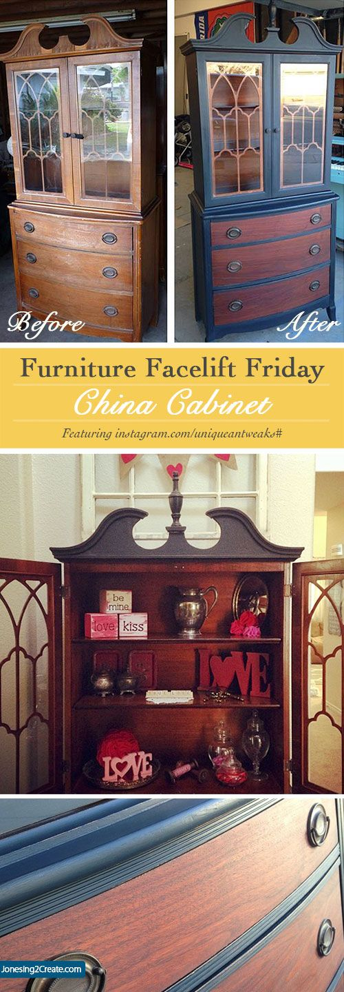 Wowsers!  Furniture Facelift Friday: China Cabinet Redo