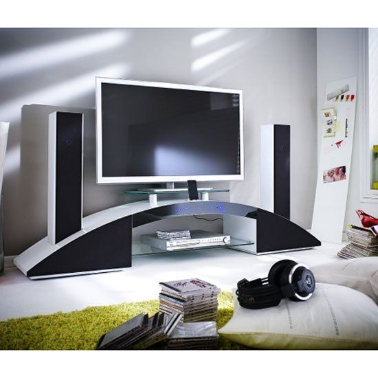 Arc LCD TV Stand In White High Gloss With Sound System It Has Glass Shelf  With Glass TV Stage Finish: White High Gloss Features:u2022Arc LCD TV Stand In  White ...