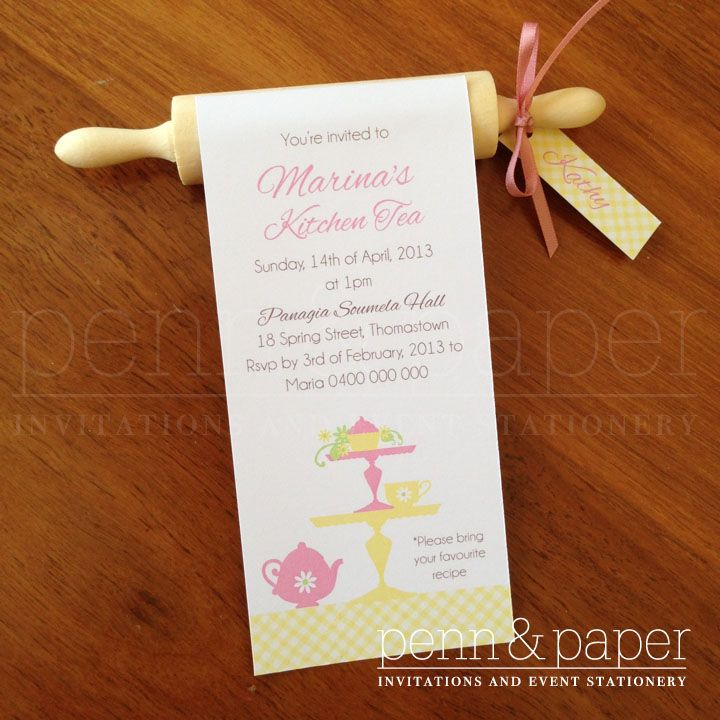 Rolling pin kitchen tea invitation with guest names for Bridal shower kitchen tea ideas