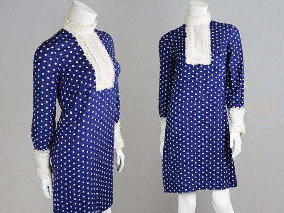 Vintage 60s JEAN VARON 60s Shift Dress Mini Dress Navy Blue & White Polka Dot Dress Mod Dress Designer Dress 1960s Dress Frilly Dress Short