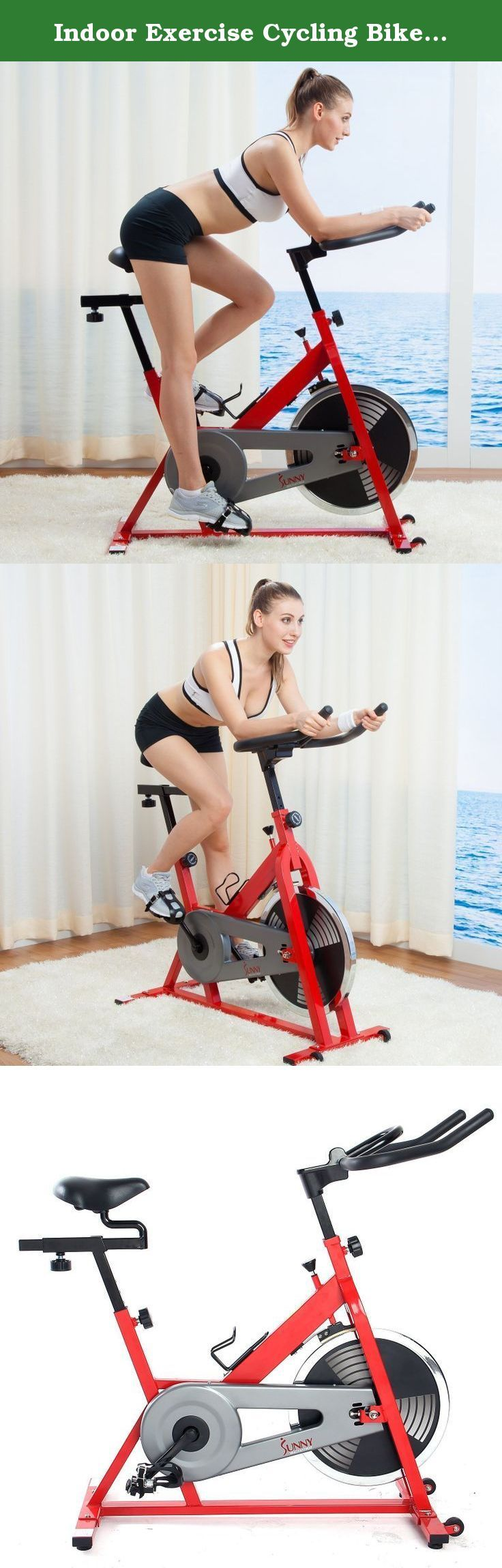 Indoor Exercise Cycling Bike Upright Top Seller Best Pricing- This Beautiful Portable Fitness Machine Will Melt Away Calories Fat Like Butter- Quiet Smooth Chain Drive Makes Spinning Simple Eassy Fun. Cycle your way to fitness on this heavy-duty indoor cycling bike from Sunny Health Fitness. Adjustable handlebars and seat let you fit this bike to your own stature, and adjustable resistance makes it possible to switch up your workout as you please. The heavy-duty steel frame of this indoor...