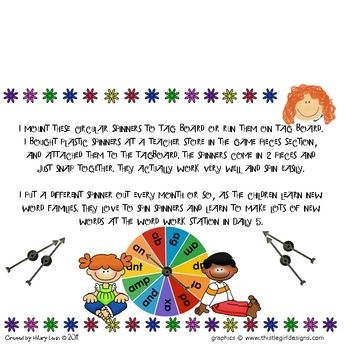 Short Vowel Word Family Spinners $3.50