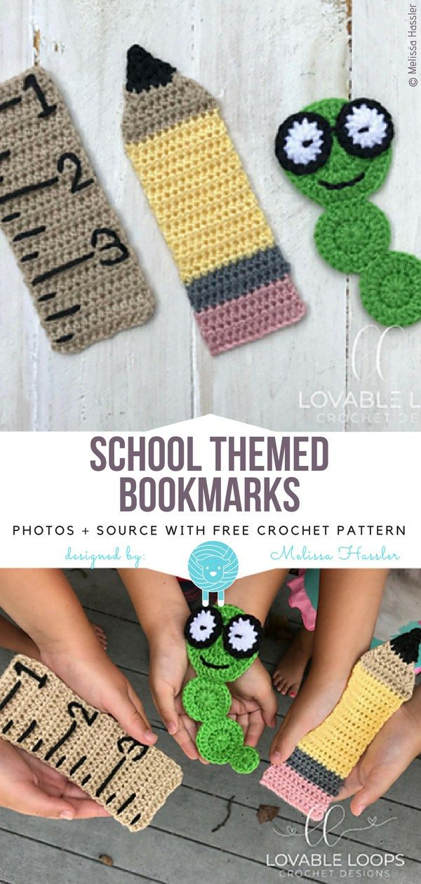 School Themed Bookmarks Free Crochet Pattern | marcadores para ...