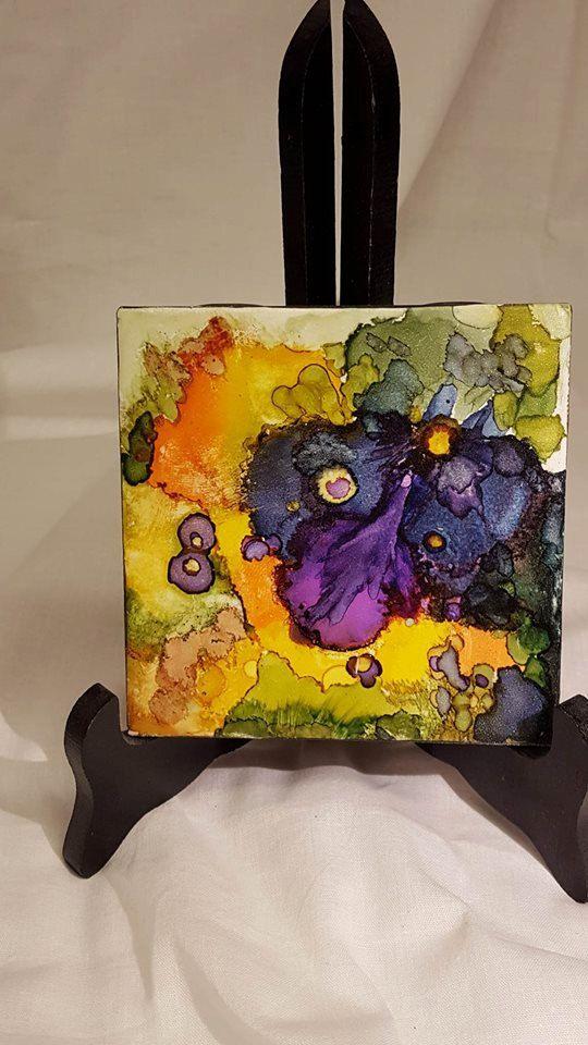 L'alcool à l'encre céramique 4 x 4 que peint à la main - livraison gratuite