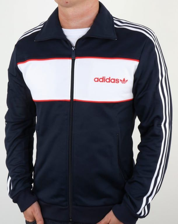 Adidas Originals Block Track Top Navy 55ab031c4aa9a