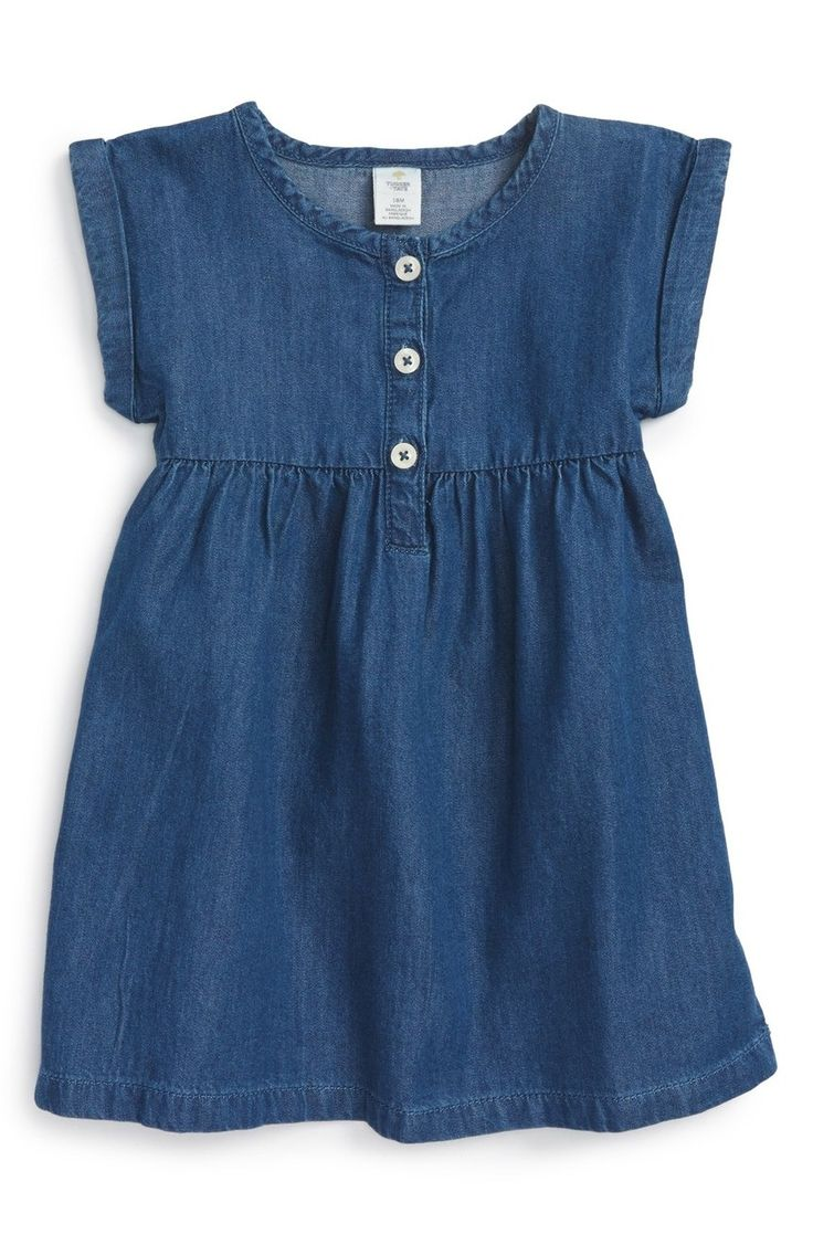 Rolled cuffs add to the easygoing charm of this crisp chambray dress.