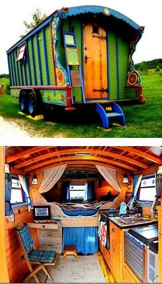 gypsy wagon; I love the kitchen!